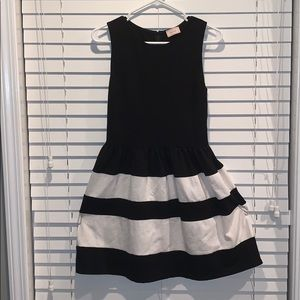Black and white striped cocktail dress